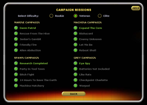 Kampanjuppdragen, varav vissa har namn som är referenser till tidigare X-COM-spel.